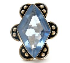Sterling Silver Blue Topaz Ring Vintage Bead Size 7.5 Hand Made #Unbranded