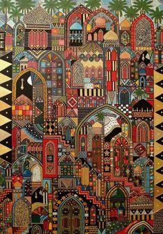 Dhuha Alkhdhairi, an Iraqi artist - great colours Palestine Art, Middle Eastern Art, Arabian Art, Mandala, Motif Floral, Naive Art, Arabesque, Calligraphy Art, Islamic Art