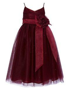 Cdress Straps Tulle Flower Girl Dress Junior Bridesmaids Dress Kids Toddler Gowns Burgundy US 4 - cute burgundy dresses, dresses for sale, burgundy fall dress *ad