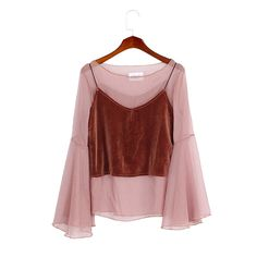 Qlychee Apparel Sexy See through Flare Sleeve Women Top Blouse With Velvet Cami Two Pieces Vest And Blouse Shirt-in Blouses & Shirts from Women's Clothing & Accessories on Aliexpress.com | Alibaba Group