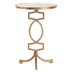 Cooper Gold Leaf Hollywood Regency Mirror Accent Side Table #kathykuohome