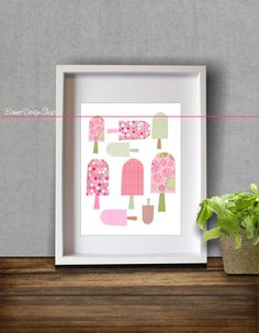 Ice Cream Lollipop Art Print Kitchen Children by BannerDesignShop, $15.99