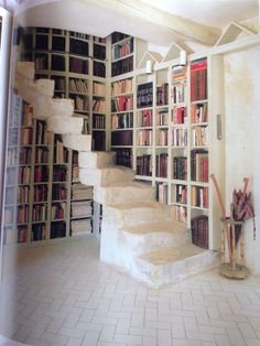 Nice unusual library. Love the stone steps.