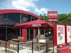 Costa Coffee giant umbrella supplied & installed by Shades of Comfort Ltd Costa Coffee, Hens Night, Shades, Amazon, Outdoor Decor, Amazons, Costa Cafe, Riding Habit, Sunnies