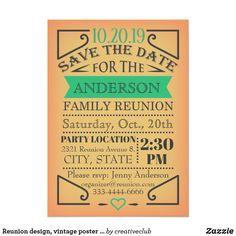Reunion design, vintage poster style. #reunion #familyreunion #reunioninvitation