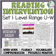 ** The Reading Intervention Program is research-based.  To download the free research on the program, CLICK HERE** This set includes 20 days of everything needed for a reading intervention program with students whose reading abilities fall in the Fountas and Pinnell reading range of levels U-W.