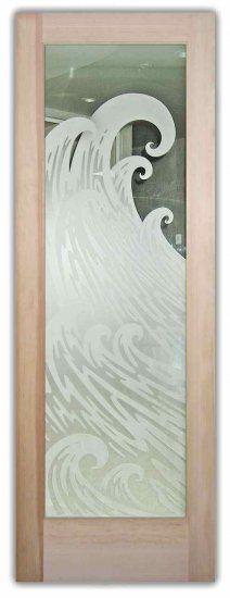 Glass Doors Front Entry Etched Glass Ocean Wave Curl Door - for the shower doors