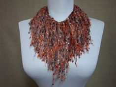 Fringe Binge Fringe Necklace Scarf  in Taupe by pflumsthumbs, $25.00