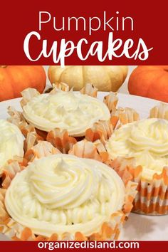 Pumpkin cupcakes - so easy from a boxed cake. mix! Delicious! Pumpkin Spiced Latte Recipe, Pumpkin Cake Recipes, Pumpkin Spice Cupcakes, Pumpkin Dessert, Cupcake Recipes, Pumpkin Cheesecake, Baking Recipes, Easy No Bake Desserts, Easy Desserts
