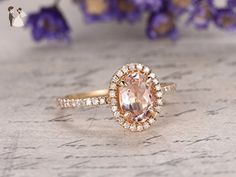 Morganite Engagement Ring Oval 6x8mm Gemstone Halo SI I-J Diamond 14k Yellow Gold,Stacking Band,Bridal Ring,Wedding Ring - Wedding and engagement rings (*Amazon Partner-Link)