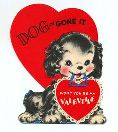 who doesn't love retro valentines? My Funny Valentine, Puppy Valentines, Valentine Images, Valentines Greetings, Vintage Valentine Cards, Valentine Day Love, Vintage Greeting Cards, Vintage Holiday, Valentine Day Cards