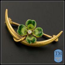 Art Nouveau 14k Gold & Enamel Clover & Crescent Moon Pin by Krementz & Co.