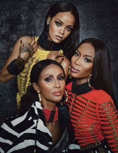 The three style icons pose in Balmain! Talk about a power shoot! Naomi Campbell, Rihanna and Iman look absolutely stunning in Balmain looks for the September issue of W Magazine. via @WhoWhatWear