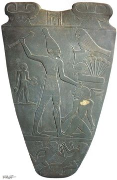 """Click to view the VERSO. Palette of King Narmer, from Hierakonpolis, Egypt, Predynastic, c. 3000-2920 BC, slate, 2' 1"""" high - Egyptian Museum, Cairo"""