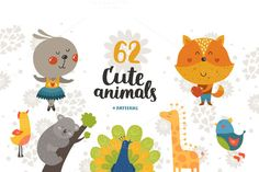 Big collection of cute animals by Tatiana Karpenko on Creative Market