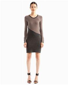 Long sleeve contrast sweater dress