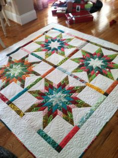 Completed Jelly Roll Star Quilt Christmas 2011