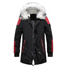 Warm Padded Mens Down Parka Mens Down Parka, Mens Winter Parka, Hooded Winter Coat, Winter Jackets, Men's Jackets, Winter Mode Outfits, Winter Fashion Outfits, Fashion Ideas, Fur Collar Jacket