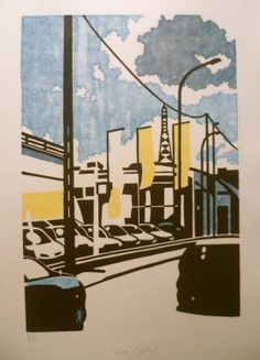 Vive l'auto !  Linogravure Juliette, Linocut Prints, Printmaking, Tote Bags, Illustration, Artwork, Etchings, Prints, Urban Landscape