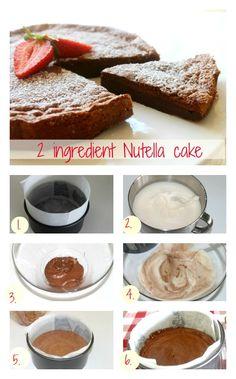 2 ingredient Nutella cake 4 Eggs oz Nutella Bake 350 degrees for minutes Nutella Fudge, Nutella Cookie, Nutella Recipes, Fudge Recipes, Cake Recipes, Dessert Recipes, Desserts, 2 Ingredient Recipes, Yummy Treats