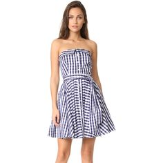 Milly Heidi Gingham Dress featuring polyvore women's fashion clothing dresses navy gingham lining dress checkered dress check print dress tie belt navy blue strapless dress