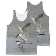 Courting Sandwich Terns - Birding Tank Top All-Over Print Tank Top Tank Tops