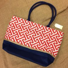Ready To Go Tote- Red/Navy MUDPIE