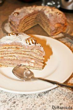 tort de clatite Creme Caramel, Pancakes, Deserts, Breakfast, Ethnic Recipes, Food, Dukan Diet, Cream, Kitchens
