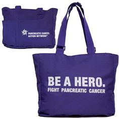 "Raise awareness while toting around your personal or professional items. Imprinted with BE A HERO. Fight Pancreatic Cancer on one side and the Pancreatic Cancer Action Network logo on the other. 600 Denier Polyester. Made with 50% Recycled material. Adjustable handles, 8"" x 9"" zippered inside hanging pocket. Zippered main compartment. Gusseted front side-pocket can be used as water bottle holder or sun glasses holder. Easy access 6"" deep stationary pockets. Contoured main front pocket with…"