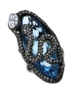 From Elizabeth Taylor's jewelry collection -- A BLUE GEMSTONE, DIAMOND AND CULTURED PEARL SNAKE RING.  Set with a marquise-cut light blue gemstone, circular-cut diamonds and a cultured pearl, mounted in oxidized 18k gold.