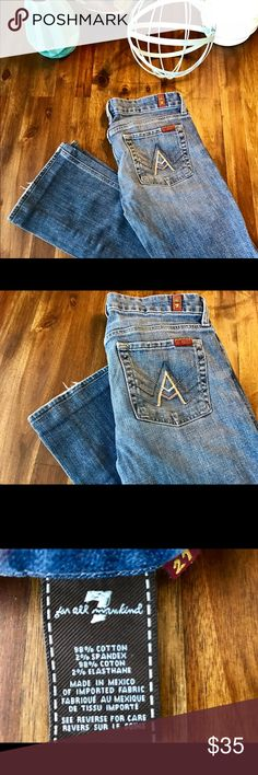 """7 for AllMankind Bootcut Jeans, Size 27 7 for AllMankind Bootcut Jeans with neutral tones A-Pocket detail, Size 27.  Inseam of 29.5"""" with original hem re-attached.  98% Cotton. Some wear along hem as shown in photo. 7 For All Mankind Jeans Boot Cut"""