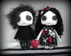 Mini Gothic Emo Art Rag Dolls - Andy Sixx & Demi