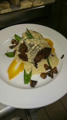 Grilled Fillet, Butternut Puree Seasonal Vegetable and Mild Pepper Sauce