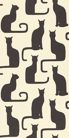 """""""Omega Cats"""" - Sanderson Bloomsbury Canvas WallPaper Collection (pattern adapted from a 1930s textile by Swedish designer, Victor   http://adorable-cat-gallery.lemoncoin.org"""