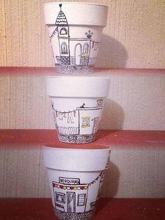 MACETAS PINTADAS A MANO, Painted Clay Pots, Painted Flower Pots, Hand Painted Ceramics, Terracotta Plant Pots, Pot Jardin, Clay Vase, Creation Deco, Mosaic Diy, Ceramic Pots