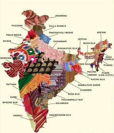 One for the handloom lovers. This map shows the astonishing diversity of textiles from India Indian Fabric, Indian Textiles, Pakistan Map, Pakistan News, Sambalpuri Saree, Handloom Saree, Lehenga, India Map, India India
