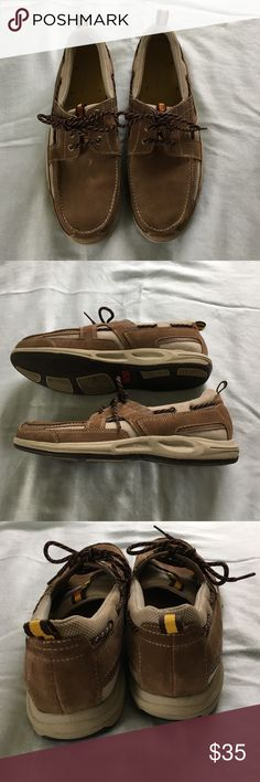 Men's Rockport Slip-on Shoes Men's classic suede and mesh three eye boat shoe. Size 10 1/2 W.  Slight scuff in top of right shoe. Rockport Shoes Boat Shoes