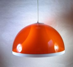 Vintage 60s Eames Orange Mushroom Pendant Dome Lamp