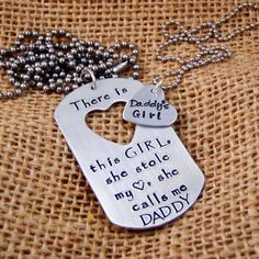 Dad Dog Tag, Daddy/Daughter necklaces,l, There is this girl she stole my heart, Gift for Dad via Etsy