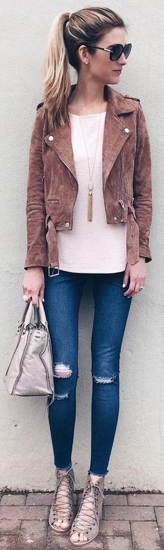 Brown Suede Jacket / Pink Knit / Ripped Skinny Jeans / Grey Laced Ip Suede Booties / Grey Tote Bag                                                                             Source