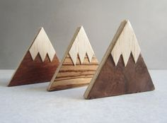 Magnet Mountains. Handmade wood fridge magnets. Set of 3 refrigerator magnets. Wooden kitchen or office magnets. Snow capped mountains.