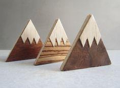 Montañas de imán. Imanes de nevera de madera hecho a por AMOKORI
