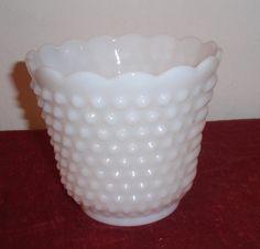 Vintage Fireking Hobnail Milk Glass Planter by DragonflyGypsySoul