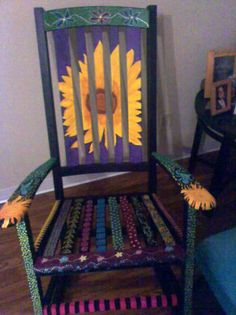 hand painted rocking chair- neat for fundraiser, or maybe a stool??
