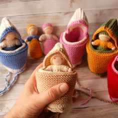 Waldorf knit doll in a pouch Small knitted baby dolls Tiny baby dolls Pocket dolls Wool stuffed doll Steiner dolls Waldorf toys Cuddle dolls Small Baby Dolls, Tiny Dolls, Baby Knitting, Knitted Baby, Kids Ties, Easter Toys, Fairy Gifts, Cashmere Yarn, Plush Pattern