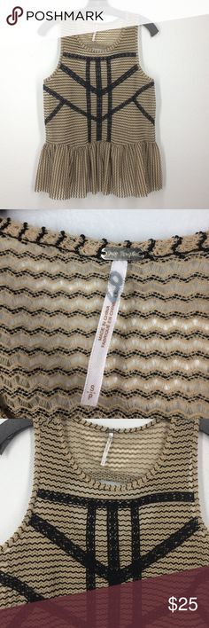 Free People knit peplum tank top size small Tan and black tank top with a loose peplum style. Like new! Free People Tops Tank Tops