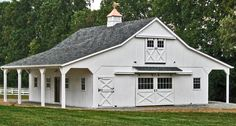 Includes: full loft 2 - overhangs 3 stalls lined wash stall 12 x 21 tack room and a 12 x 9 feed room. Delivered in sections our crew has it ready for your horses in less than a week. by mona Horse Barn Plans, Barn House Plans, Horse Barns, Horses, Horse Stables, Pole Barn Garage, Pole Barn Homes, Cabana, Horse Barn Designs