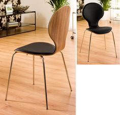 A contemporary take on a classic design, this chair combines the warmth and stylishness of a walnut back with a padded leather seat for extra comfort. Will look great as an accompaniment to any of our dining tables.