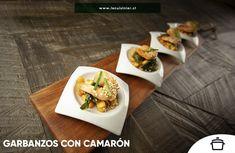 Combinación de garbanzos, camarones y espinaca en una reducción de tomate y vino blanco con un toque de tomillo. Ratatouille, Menu, Tacos, Mexican, Ethnic Recipes, Food, Gastronomia, Spice, Natural Herbs