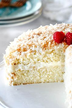 This Coconut Cake is a coconut lover's dream! It isn't just a white cake with coconut frosting but is infused with 3 types of coconut, is sooo tender and moist and smothered in the luscious Coconut Cream Cheese Frosting for the Best Coconut Cake ever! Cake Recipe Using Yogurt, Cake Cookies, Cupcake Cakes, Cupcakes, Easy Desserts, Delicious Desserts, Pecan Desserts, Coconut Frosting, Coconut Cakes